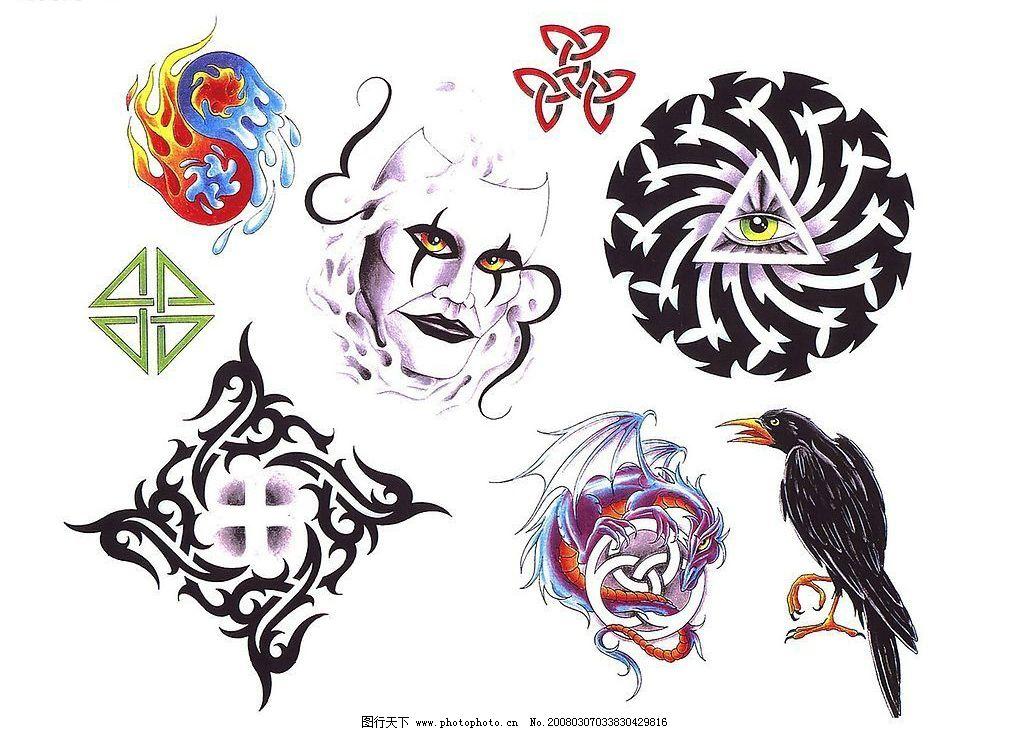 欧美刺青纹身图 面具 图腾 乌鸦 西洋龙 眼睛 图片素材 纹身刺青图案