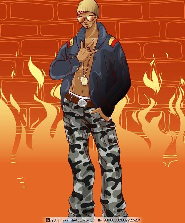 迷彩裤嘻哈男 甲克 渐变墨镜 砖纹图案 火焰图案 其他矢量 矢量素材