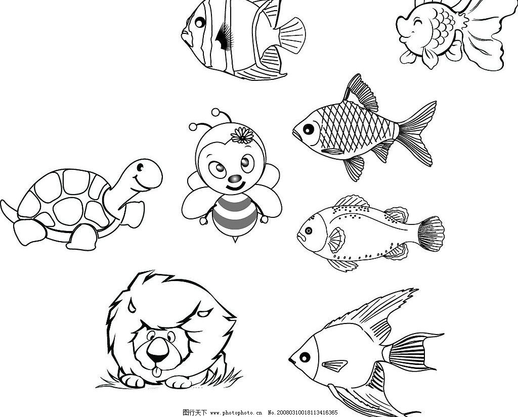 线描卡通图片 动物 生物世界 其他生物 矢量图库   ai