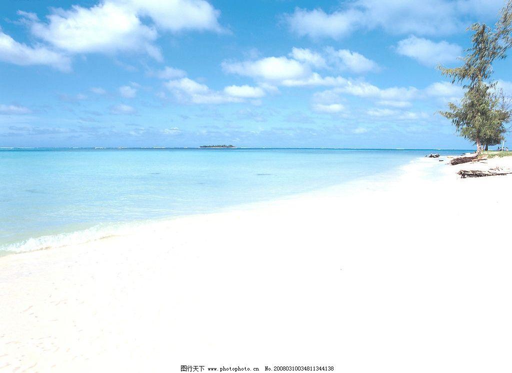 海滩图片,蓝天 白云 白色海滩 大海 椰树 风景 自