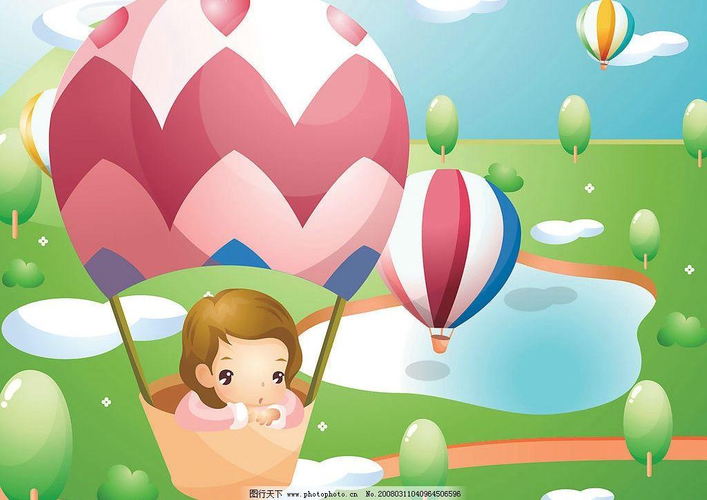 儿童矢量图 热气球 卡通 动漫 漫画 插画 矢量人物 儿童幼儿 韩国快乐