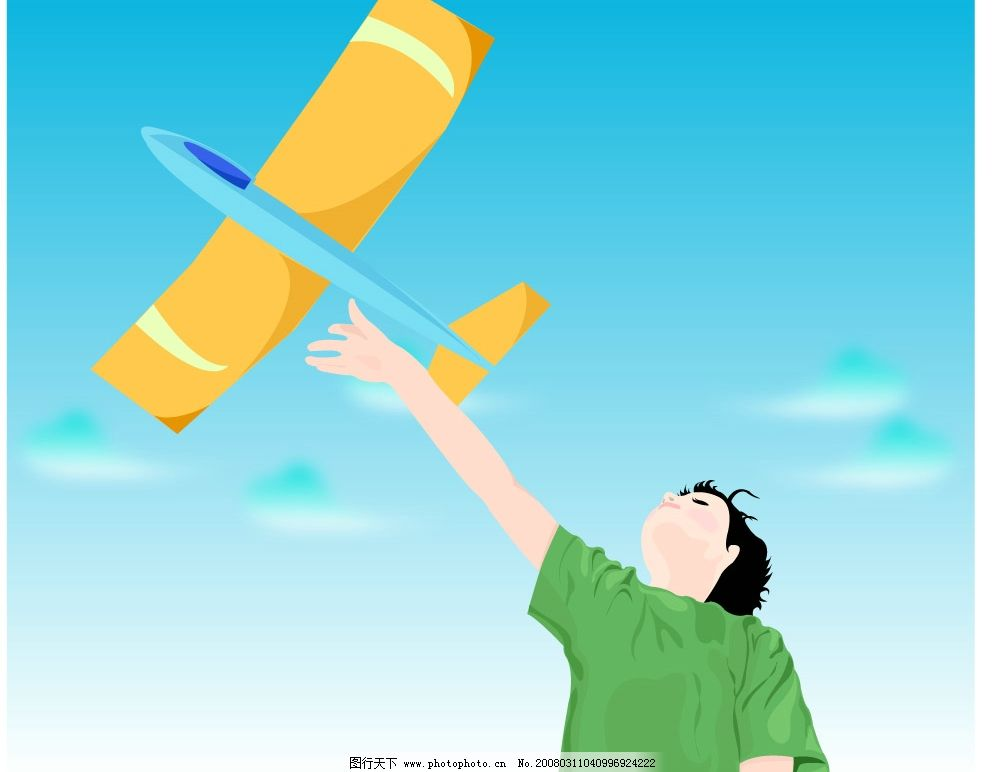 飞机和儿童图片_动画素材