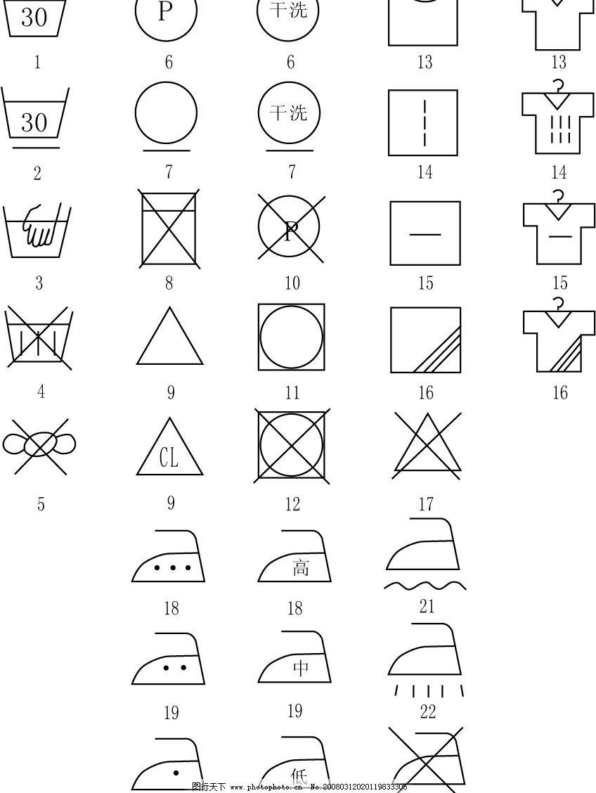 洗衣标志 标识标志图标 矢量图库