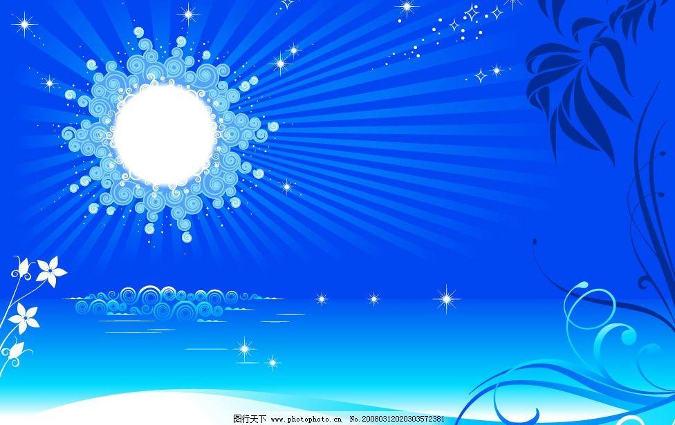 时尚花纹 花 花纹 月亮 星星 底纹边框 花纹花边 矢量图库   ai