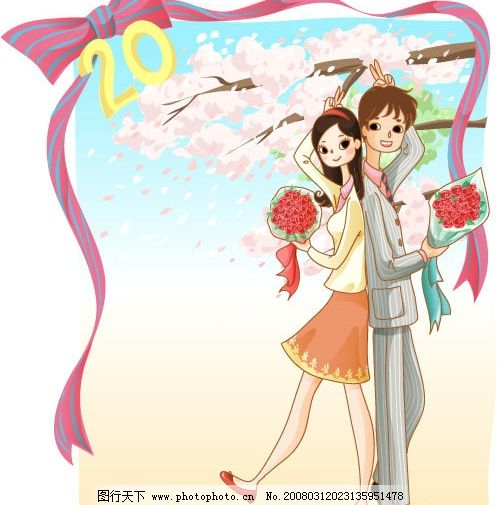 漫画爱情 漫画人物 樱花 蝴蝶结 矢量人物 日常生活 浪漫爱情 矢量