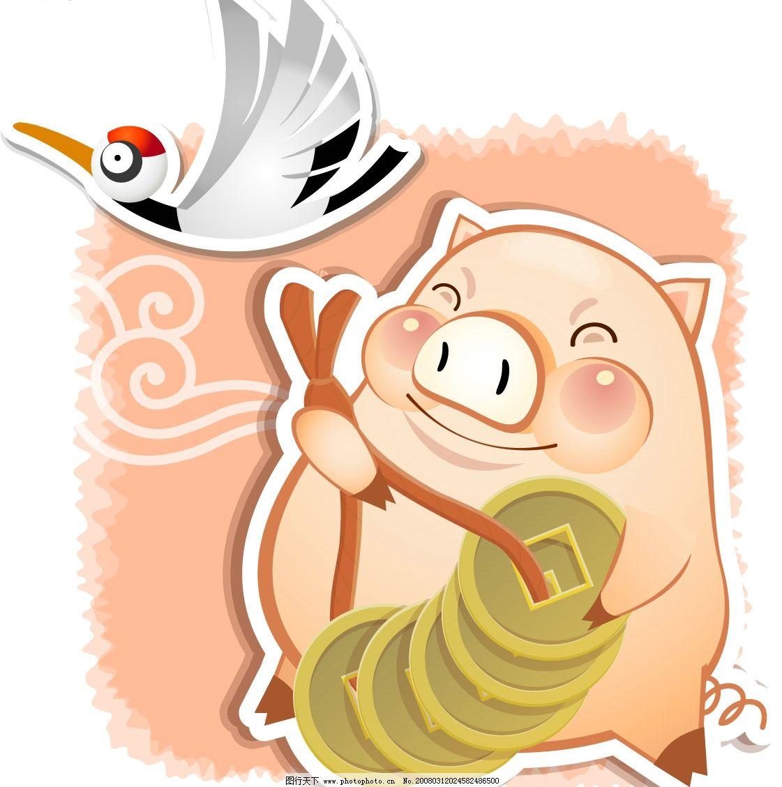 猪年素材 白鹤 金钱 金币 铜钱 矢量图库