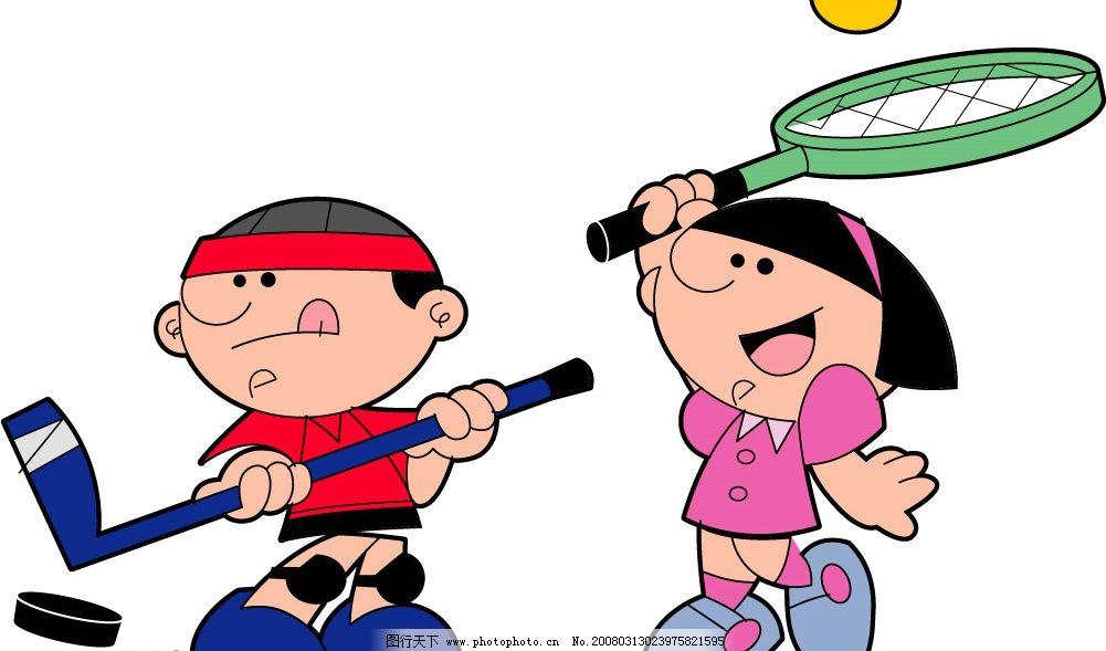 网球/冰球 网球 冰球 奥运 体育项目 可爱 卡通 运动 矢量人物 其他