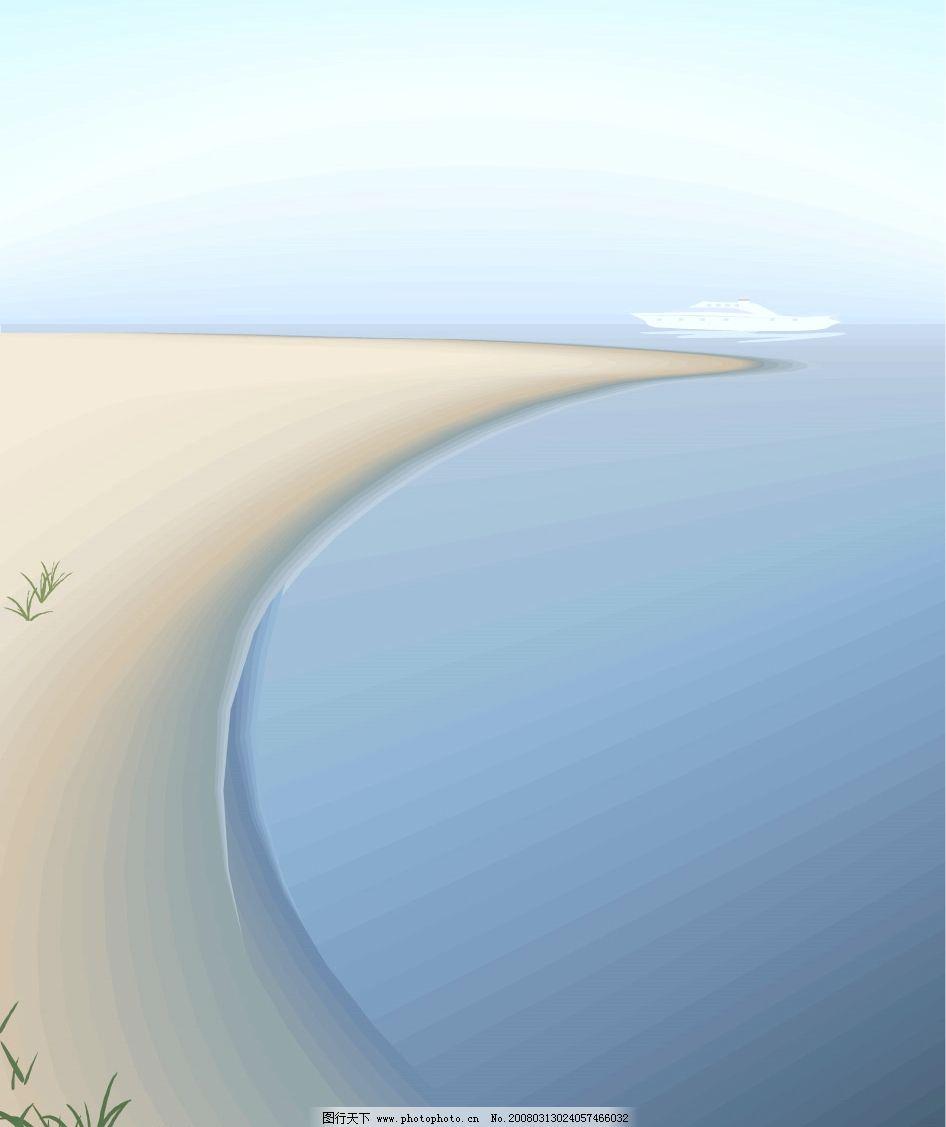 海边 自然景观 山水风景 精美矢量风景图 矢量图库   ai