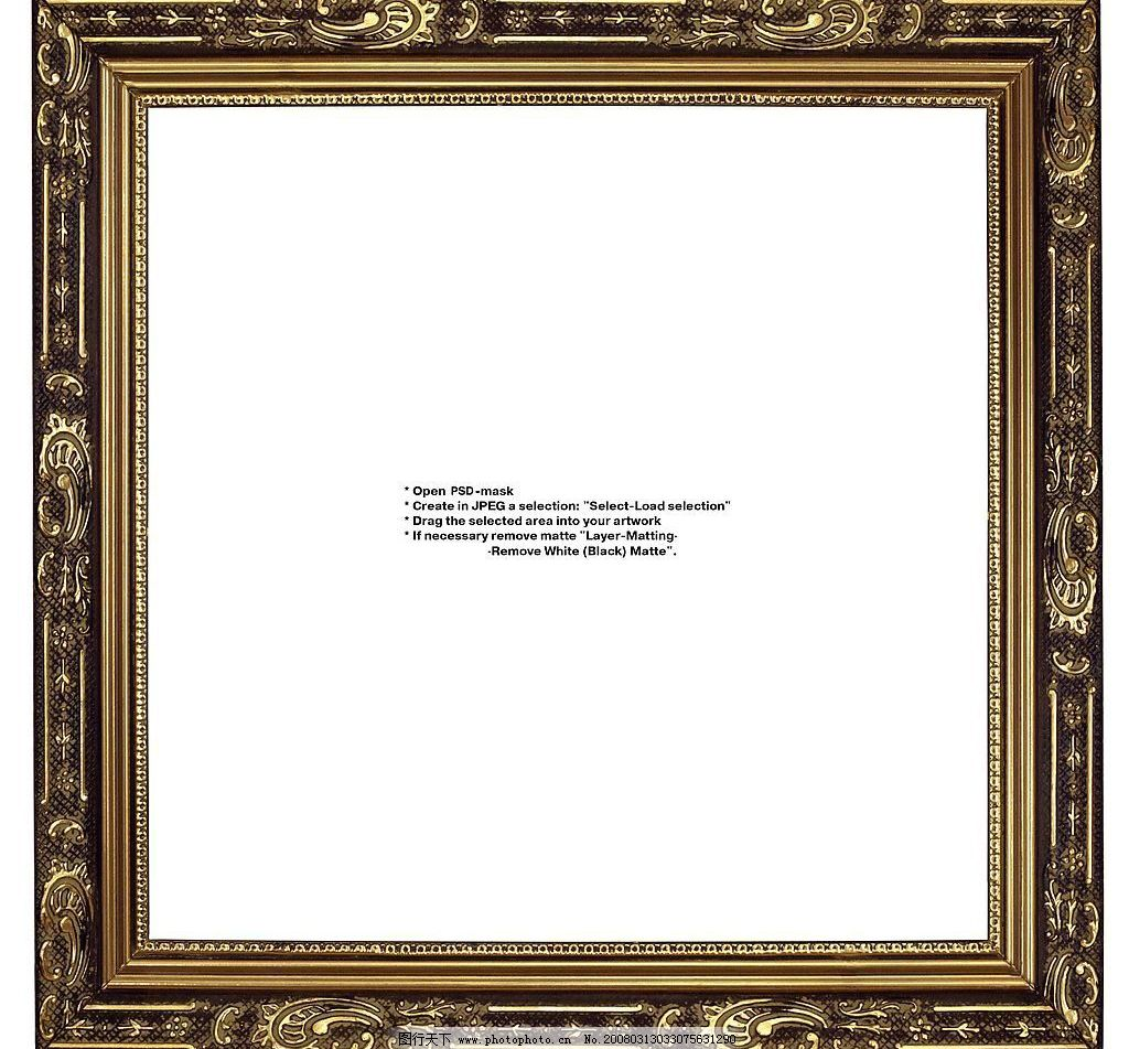 金属画框 金属 画框 黄金 质感 地产 psd分层素材 边框 源文件库