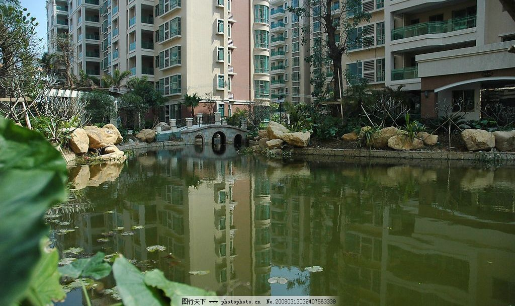 欧式楼盘 欧式 水景 园林 楼盘 建筑园林 建筑摄影 摄影图库 300 jpg