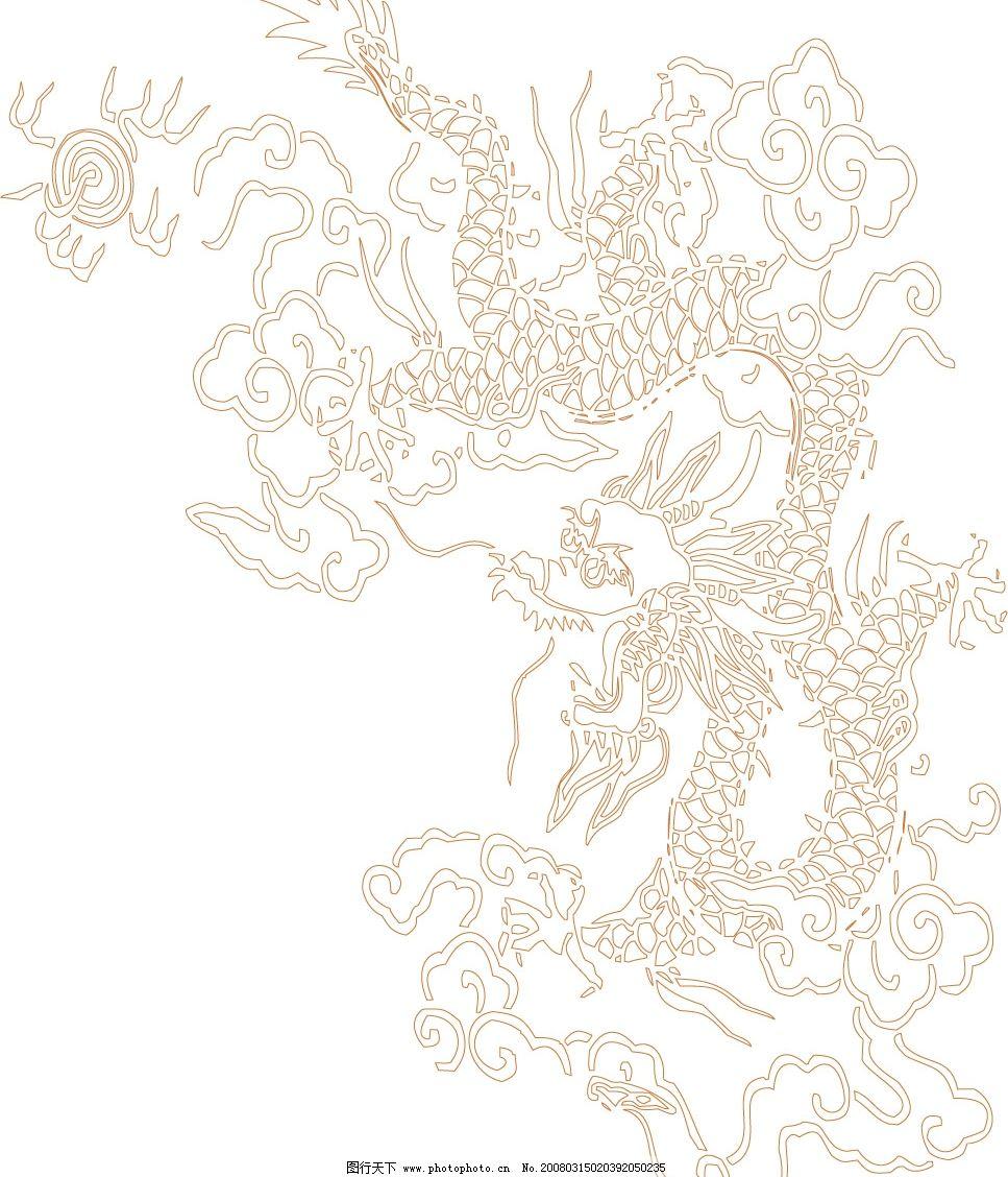 中国龙2 底纹边框 花纹花边 传统图案 矢量图库   cdr
