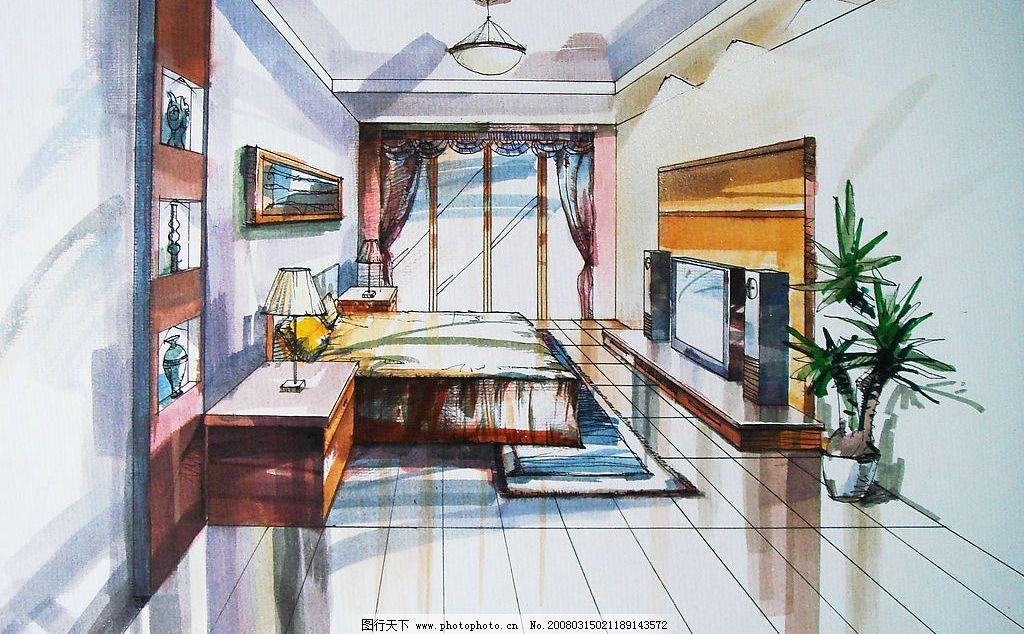 卧室手绘图片