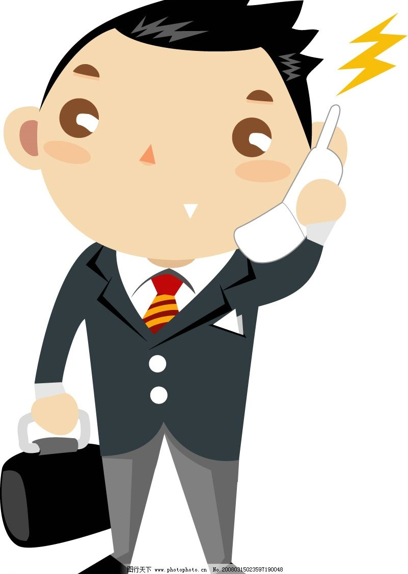卡通人物 商务 打手机 儿童外语 矢量人物 矢量图库