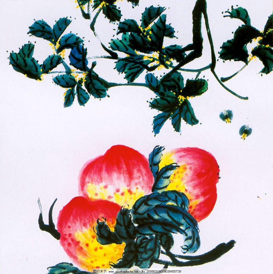 桃子 桃 国画 白石 小品 文化艺术 绘画书法 设计图库 300 jpg