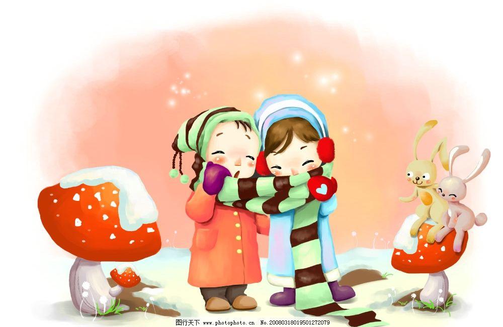 冬日恋歌 彩绘人物 童话 手绘 插画 童趣 节日素材 源文件库