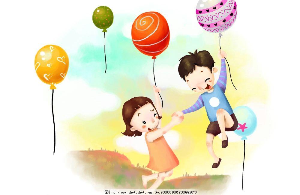 放飞梦想 彩绘人物 童话 手绘 插画 童趣 节日素材 源文件库