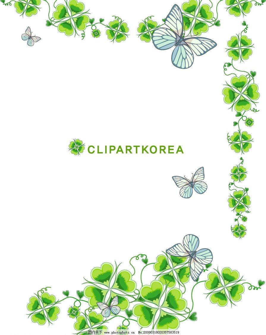 清新绿色小花花边图片