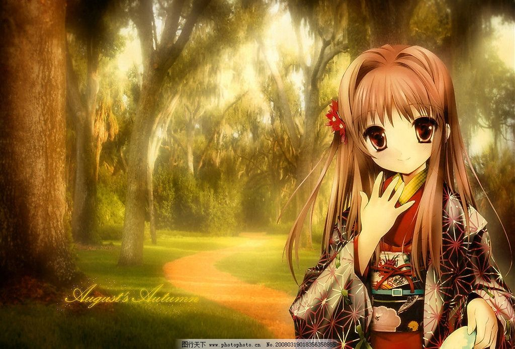 和服女孩 和服 女孩 树林 动漫动画 动漫人物 设计图库 50 jpg