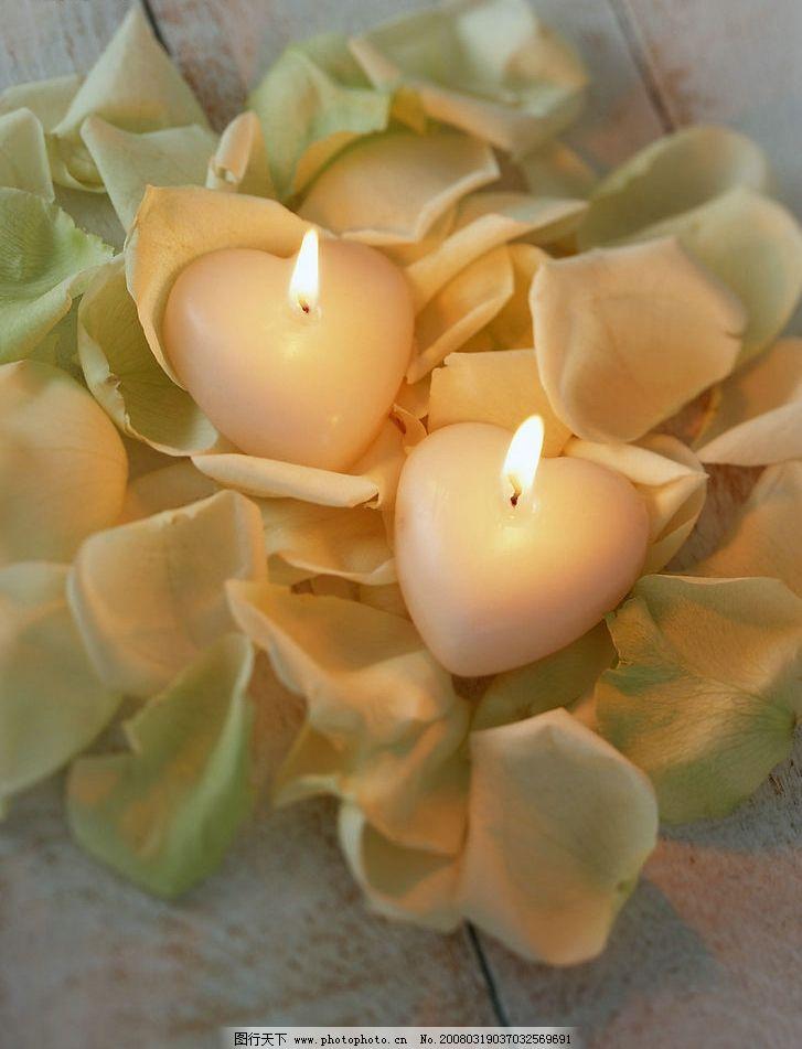 心形蜡烛 烛光 烛火 火苗