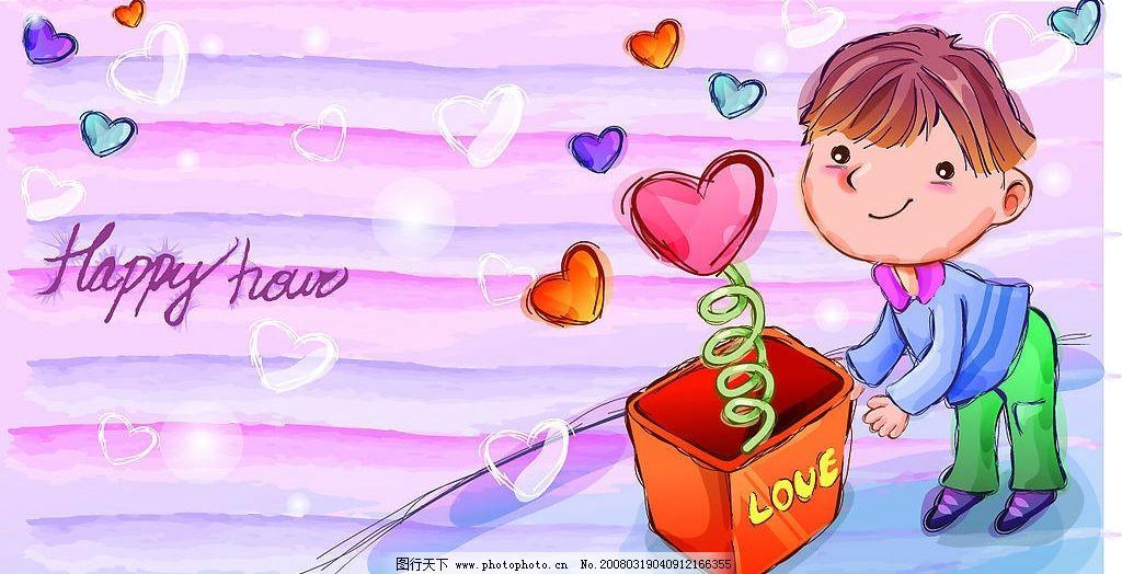 可爱男女卡通图 小男孩