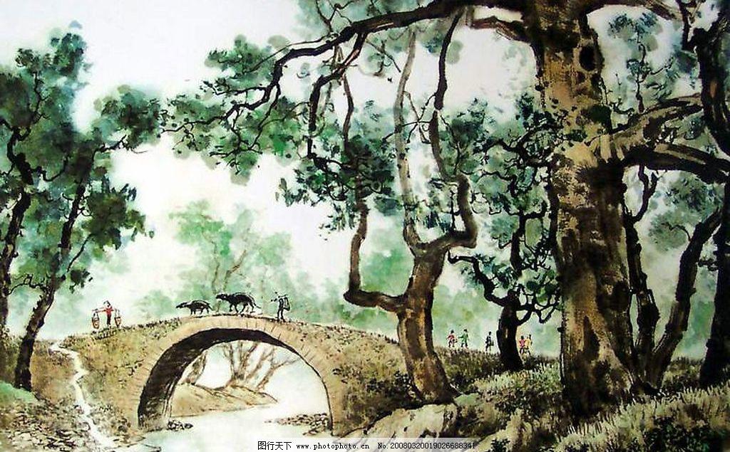 乡间水墨画 江西婺源 山水民居小桥 水墨国画 文化艺术 绘画书法 设计