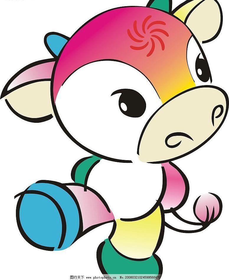 小牛 牛 动物 卡通 生物世界 家禽家畜 矢量图库   cdr