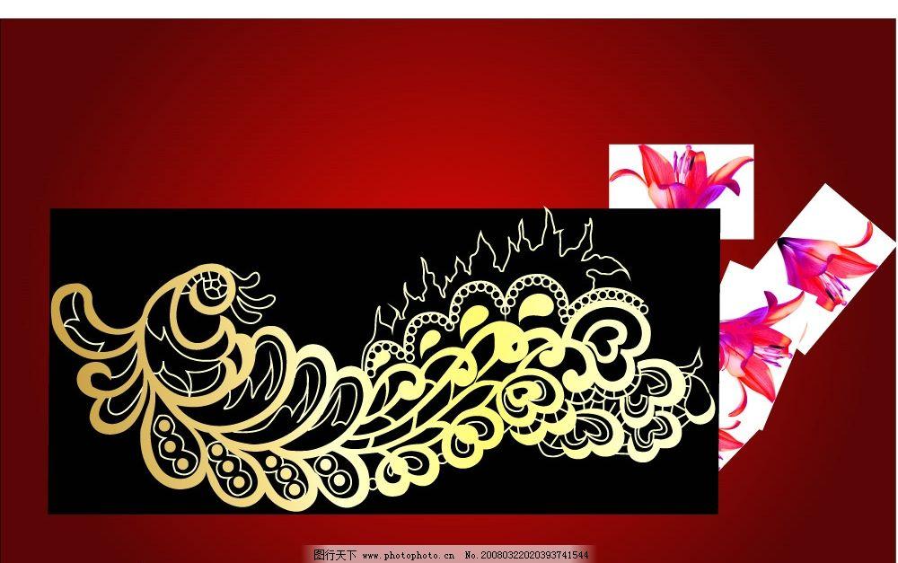孔雀精美花纹图片