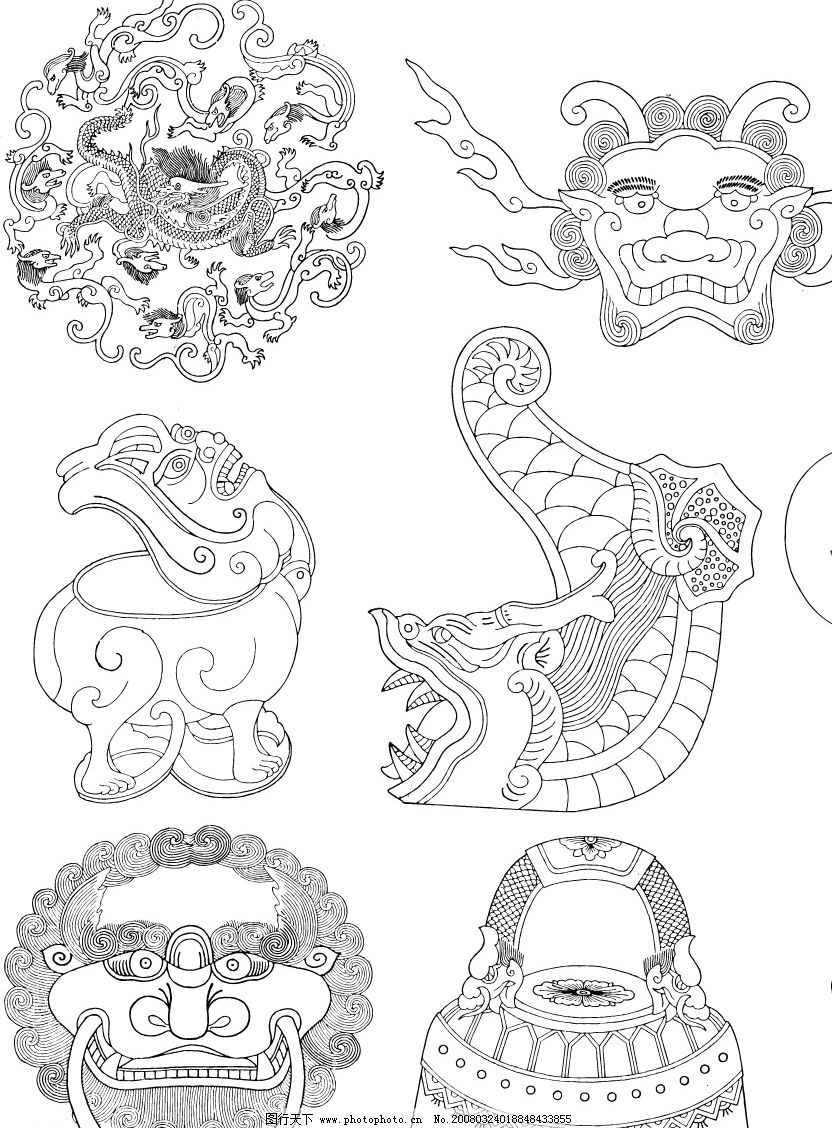 中国传统纹样 花草石材动物圆形方形适合纹样 矢量图库