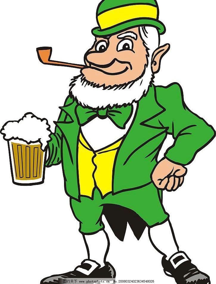 啤酒老人 老年 喝酒 矢量人物 老年人物 矢量图库