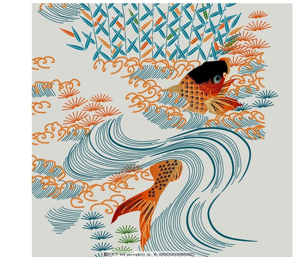 鲤鱼 古典 工笔 红色鲤鱼