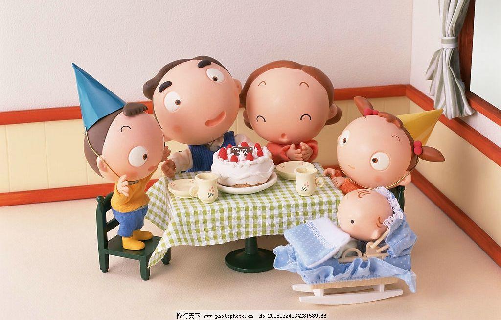 快乐家庭 卡通 可爱 生日 过生日 全家 人文景观 摄影图库