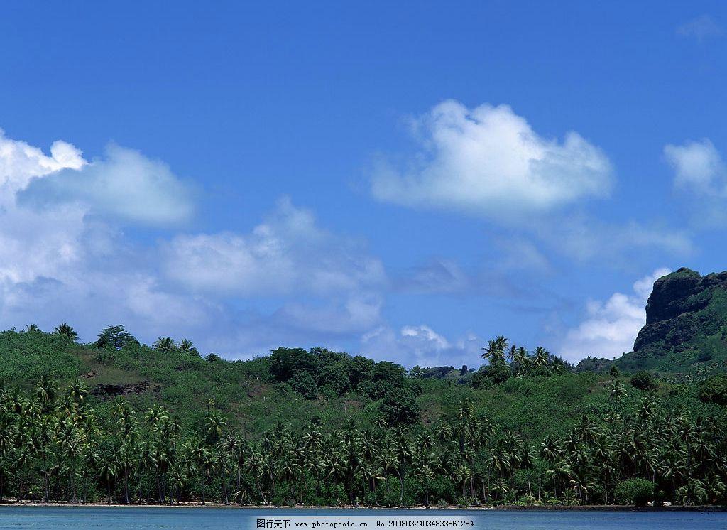 摄影图库 自然景观 自然风景  海天风景 云 天 海 云天海 海水 树