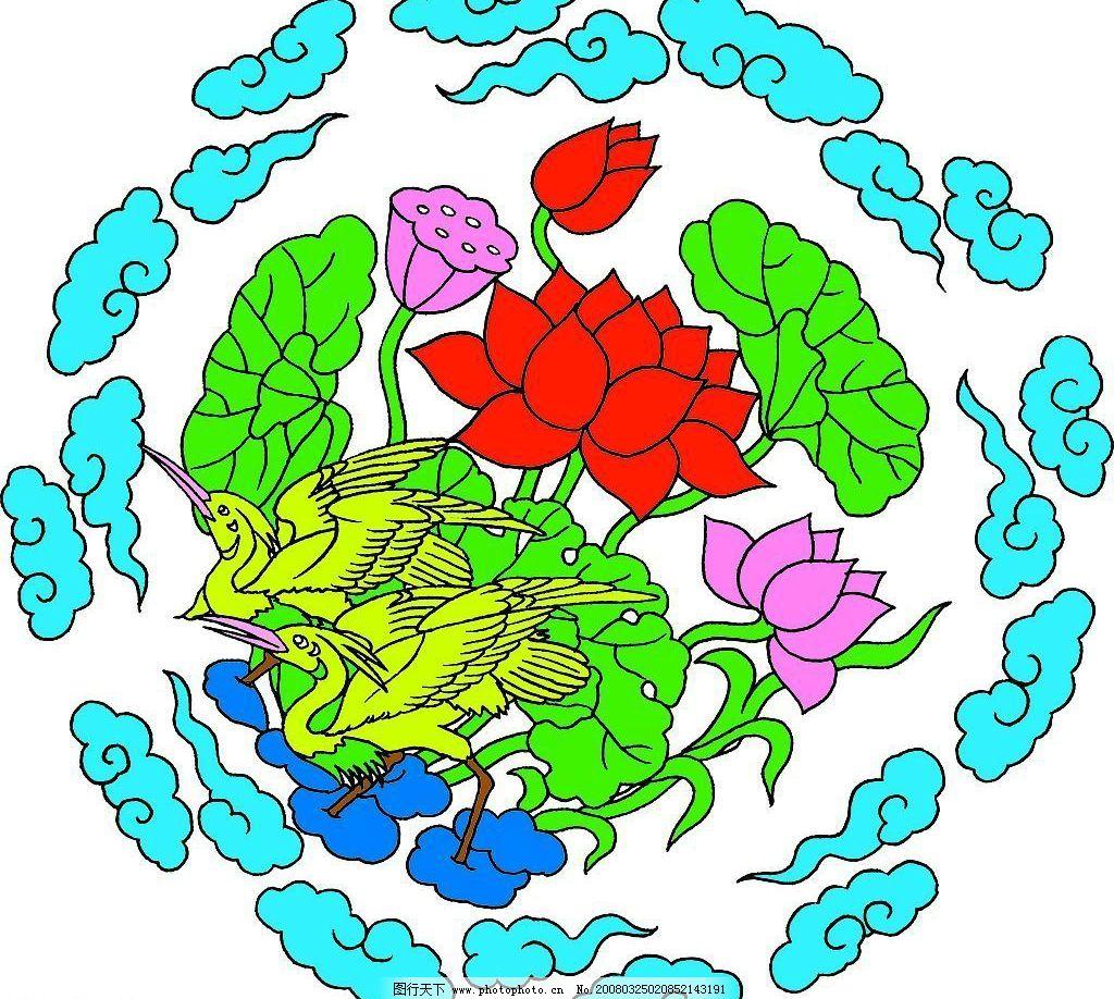 古典 凤凰 喜庆图 花鸟图 鱼 吉祥图案 文化艺术 绘画书法 底纹边框