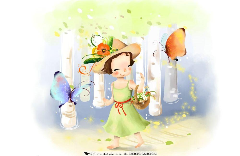 梦幻彩蝶 彩绘人物 童话 手绘 插画 人物 童趣 节日素材 其他 源文件