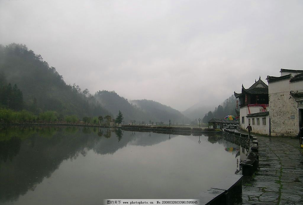 千岛湖森林氧吧雨景图片