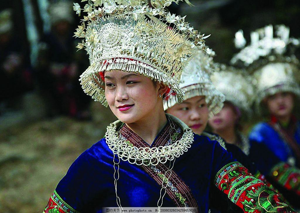 贵州苗族姑娘 贵州 苗族 民族 跳舞 节日 银饰 民族服饰 姑娘 旅游