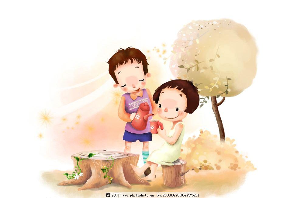 两小无猜 彩绘人物 童话 手绘 插画 童趣 节日素材 源文件库