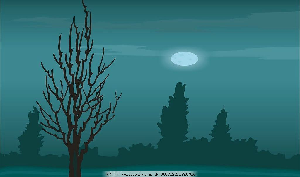 月色 月光 明月 晚上的夜景 自然景观 自然风景 矢量图库   cdr