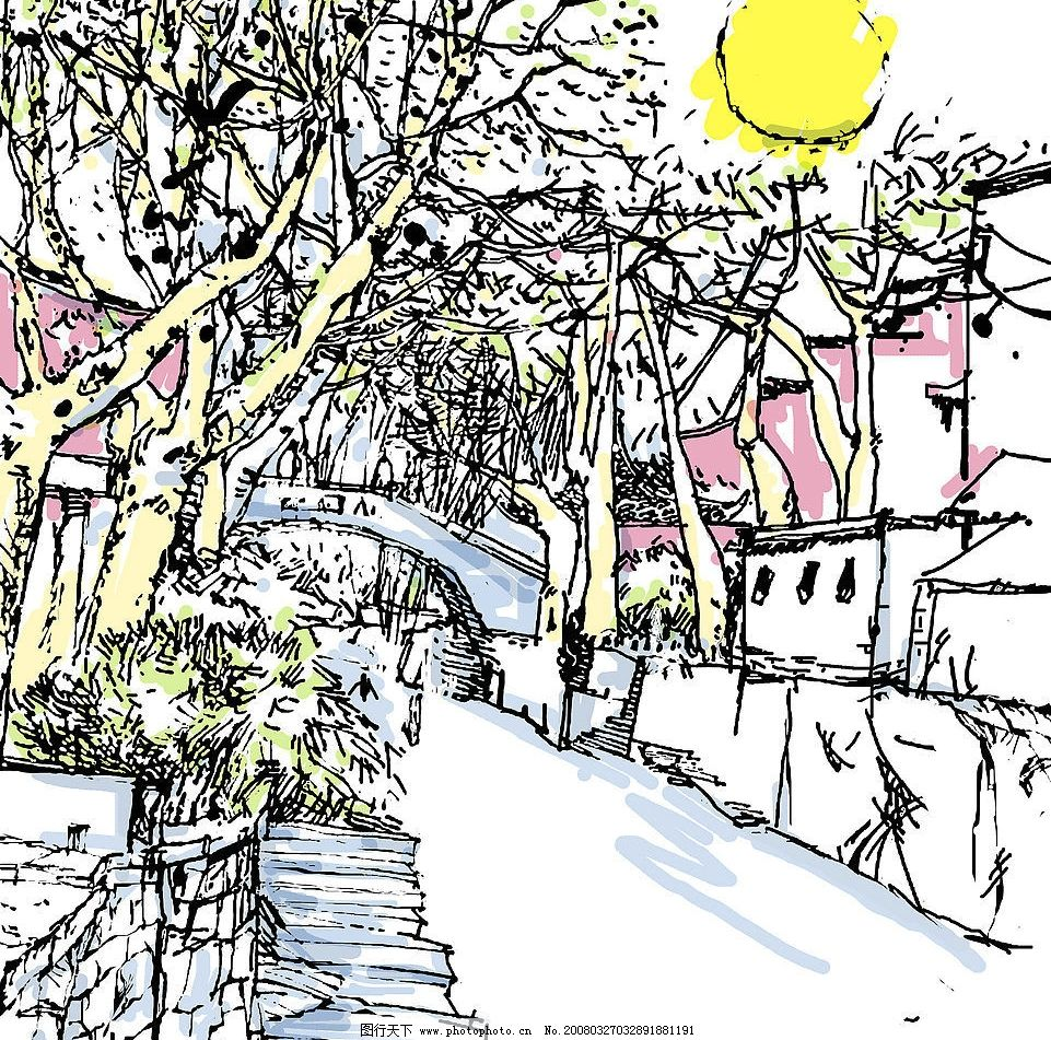 家乡风景写生 速写 钢笔画