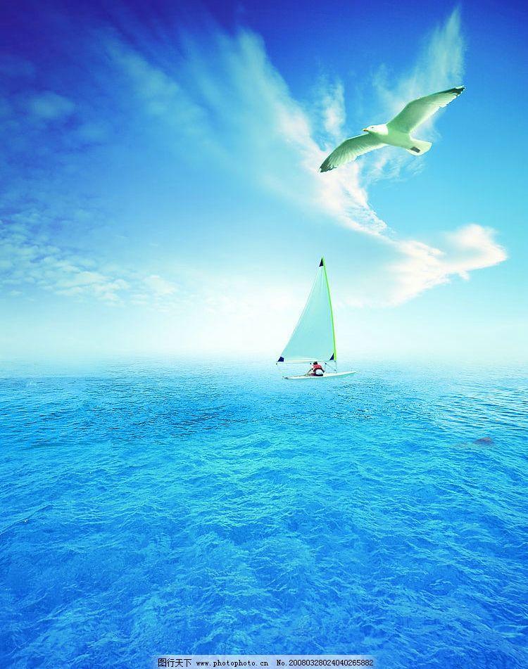 蓝天大海 大海 海鸥 船 蓝天白云 人与自然风景 300jpg 自然景观 自然