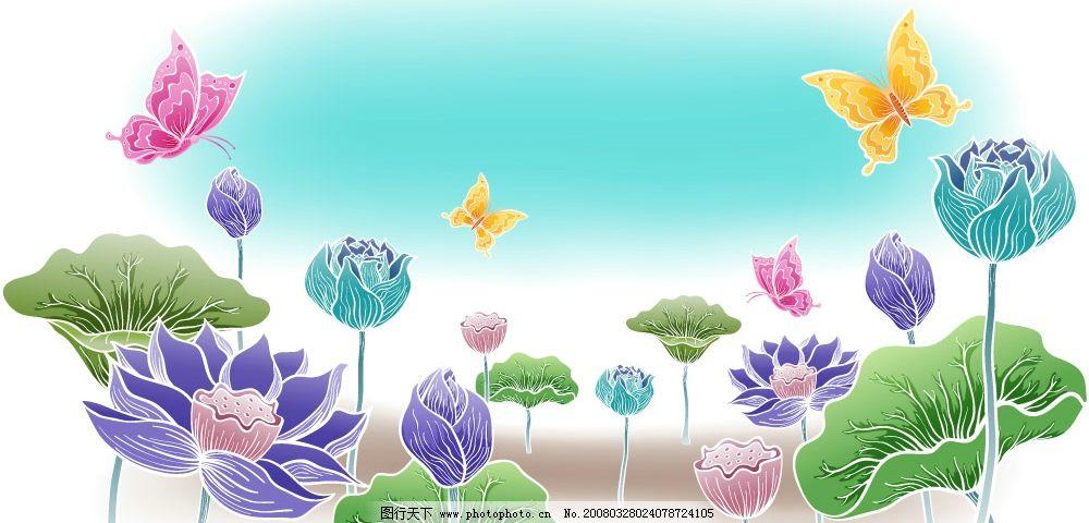 荷花 各色荷花 彩色蝴蝶 池边美景 矢花荷花图 自然景观 自然风景