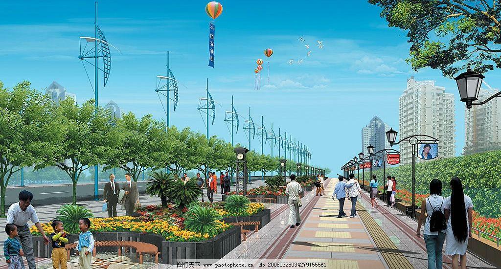 高清图片 城市街道设计 城市建筑 街道 行人 城市绿化 树木 花坛 路灯图片