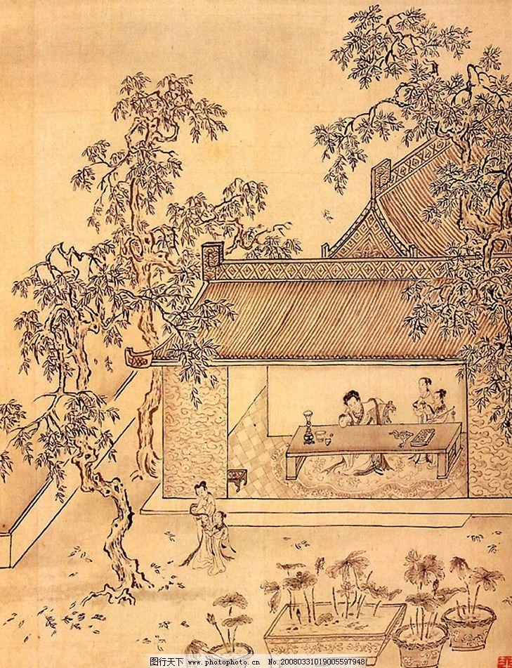 古画 树 人 琴 文化艺术 绘画书法 古典名画 设计图库 惢已赱远 460