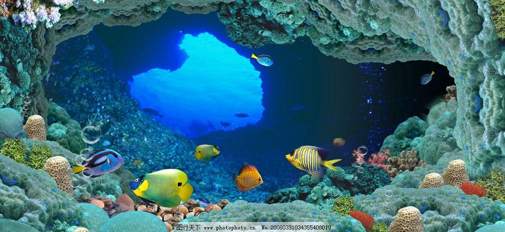 摄影图库 旅游摄影 其他  海底世界 自己拼合的海底图 海底礁石 群鱼