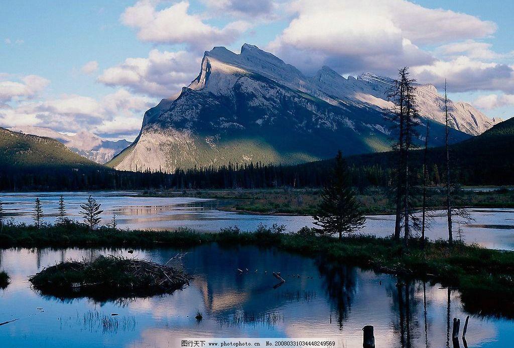 沼泽雪山 沼泽 雪山 晴空 自然景观 山水风景 世界风光壁纸 摄影图库