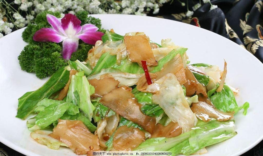 头菜爆螺片 大头菜 响螺片 盘子 花 桌布 餐饮美食 传统美食 摄影图库